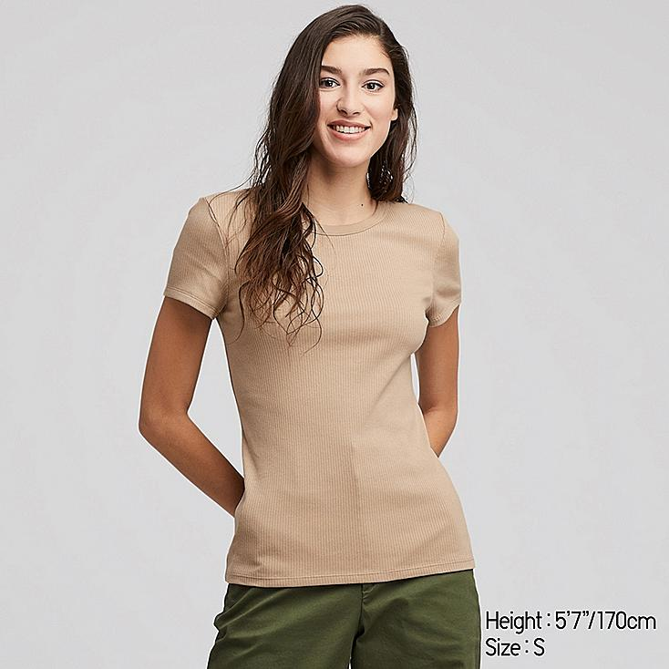 WOMEN RIBBED CREW NECK SHORT-SLEEVE T-SHIRT, BEIGE, large