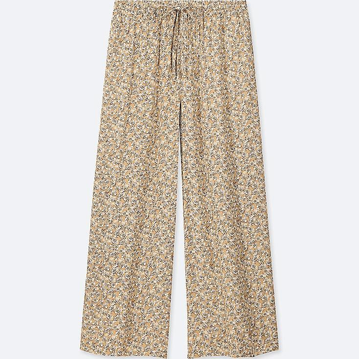 WOMEN DRAPE WIDE FLORAL PANTS, BEIGE, large