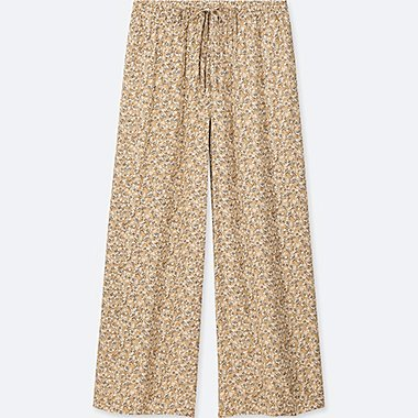 WOMEN DRAPE WIDE FLORAL PANTS, BEIGE, medium