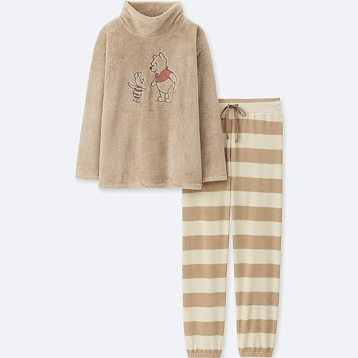 WOMEN DISNEY COLLECTION LONG-SLEEVE FLEECE SET, BEIGE, large