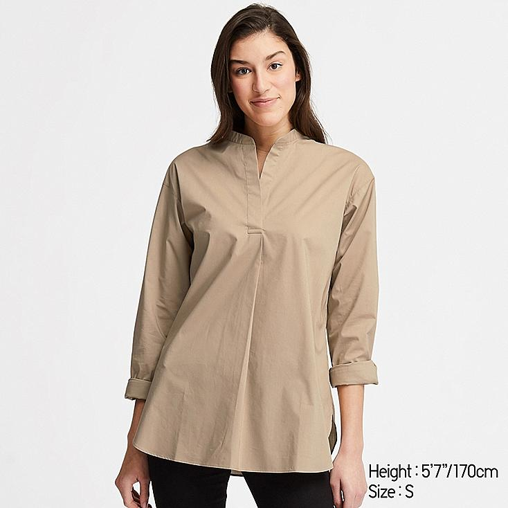 WOMEN EXTRA FINE COTTON STAND COLLAR LONG-SLEEVE SHIRT, BEIGE, large