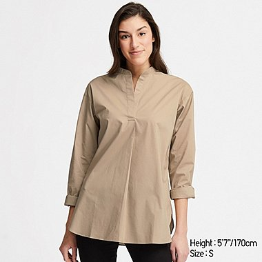 WOMEN EXTRA FINE COTTON STAND COLLAR LONG-SLEEVE SHIRT, BEIGE, medium