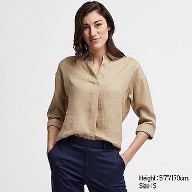 WOMEN PREMIUM LINEN SKIPPER COLLAR LONG-SLEEVE SHIRT, BEIGE, medium