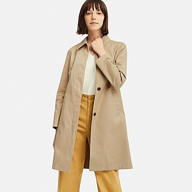 WOMEN BLOCKTECH SOUTIEN COLLAR COAT, BEIGE, medium
