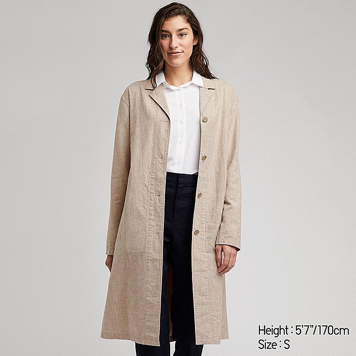WOMEN LINEN BLEND COAT, BEIGE, large