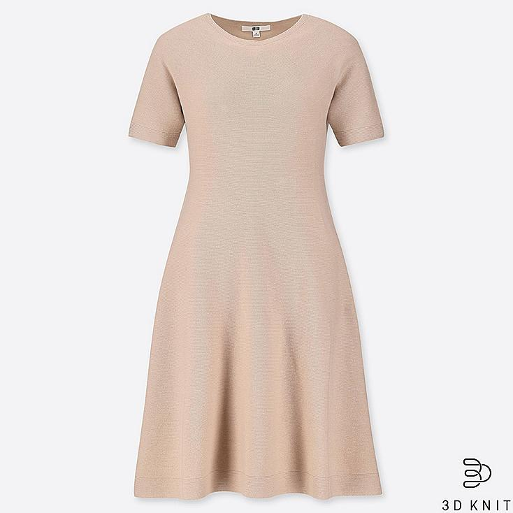 WOMEN 3D COTTON FLARE SHORT-SLEEVE DRESS, BEIGE, large