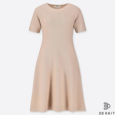 WOMEN 3D COTTON FLARE SHORT-SLEEVE DRESS, BEIGE, medium