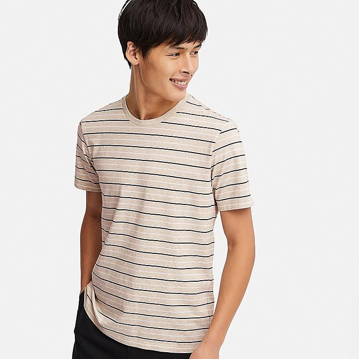 MEN SUPIMA® COTTON STRIPED SHORT-SLEEVE T-SHIRT, BEIGE, large