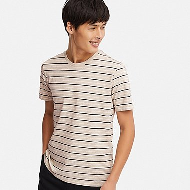 MEN SUPIMA® COTTON STRIPED SHORT-SLEEVE T-SHIRT, BEIGE, medium