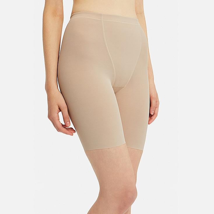 WOMEN BODY SHAPER NON-LINED SUPPORT SHORTS, BEIGE, large