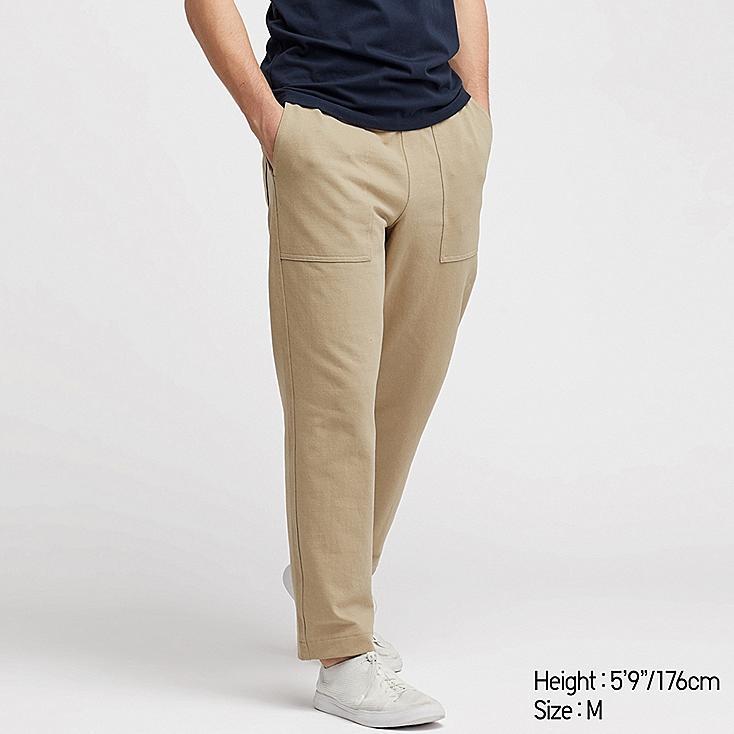 MEN WASHED JERSEY ANKLE-LENGTH PANTS, BEIGE, large
