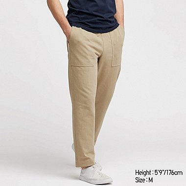 MEN WASHED JERSEY ANKLE-LENGTH PANTS, BEIGE, medium
