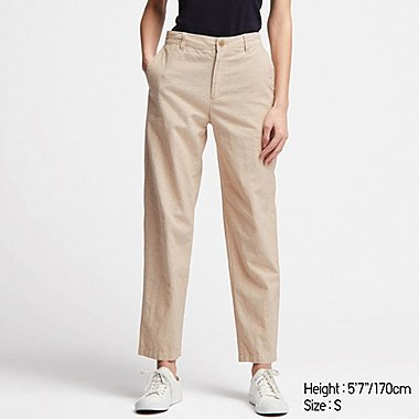 WOMEN LINEN COTTON TAPERED PANTS, BEIGE, medium