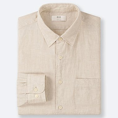 MEN PREMIUM LINEN LONG-SLEEVE SHIRT, BEIGE, medium