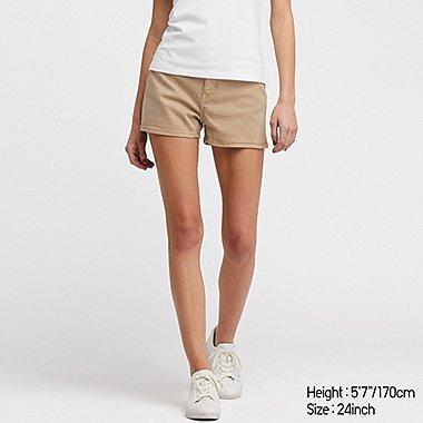WOMEN HIGH-RISE SLIM-FIT DENIM COLOR SHORTS, BEIGE, medium