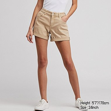 WOMEN MID-RISE ROLL-UP DENIM SHORTS (ONLINE EXCLUSIVE), BEIGE, medium