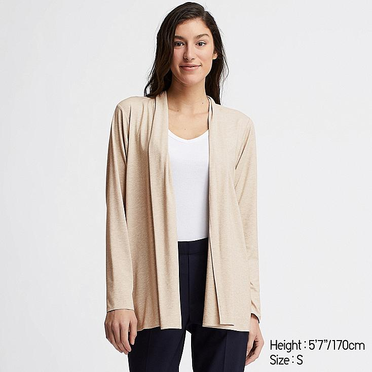 WOMEN AIRism UV CUT SEAMLESS STOLE CARDIGAN, BEIGE, large