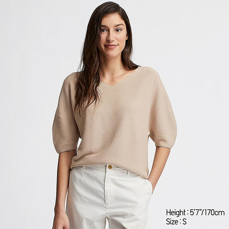 WOMEN 3D COTTON DOLMAN HALF SLEEVE SWEATER, BEIGE, large