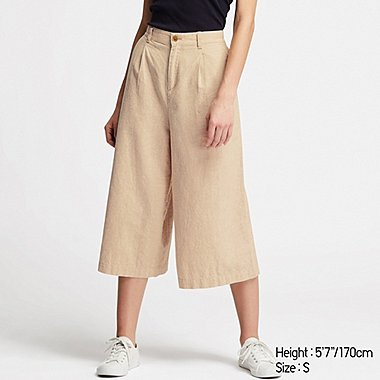 WOMEN LINEN COTTON WIDE CROPPED PANTS, BEIGE, medium