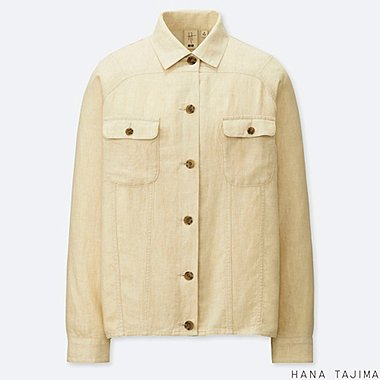 WOMEN LINEN BLENDED OVERSIZE SHORT JACKET (HANA TAJIMA), BEIGE, medium