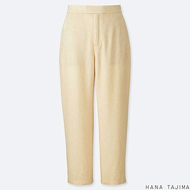 WOMEN LINEN BLENDED RELAXED ANKLE PANTS (HANA TAJIMA), BEIGE, medium
