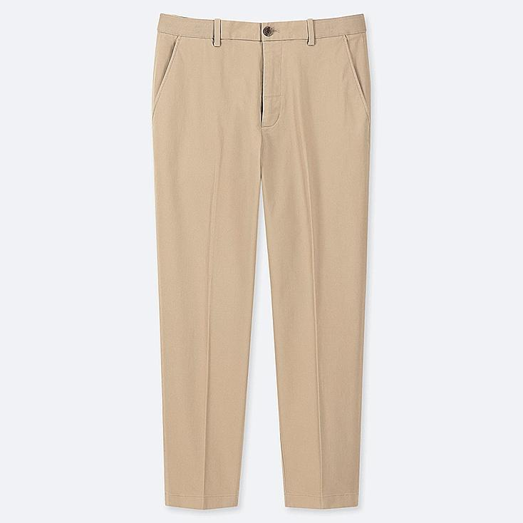 "MEN EZY COTTON RELAXED FIT ANKLE-LENGTH PANTS (TALL 31"") (ONLINE EXCLUSIVE), BEIGE, large"