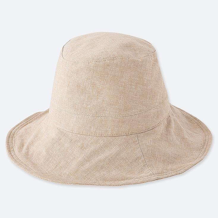 WOMEN UV CUT ADJUSTABLE HAT, BEIGE, large