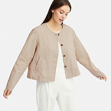 WOMEN LINEN BLENDED COLLARLESS JACKET (ONLINE EXCLUSIVE), BEIGE, medium