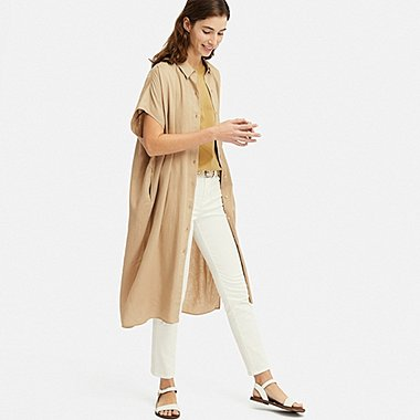 WOMEN LINEN BLEND SHORT-SLEEVE LONG SHIRT, BEIGE, medium