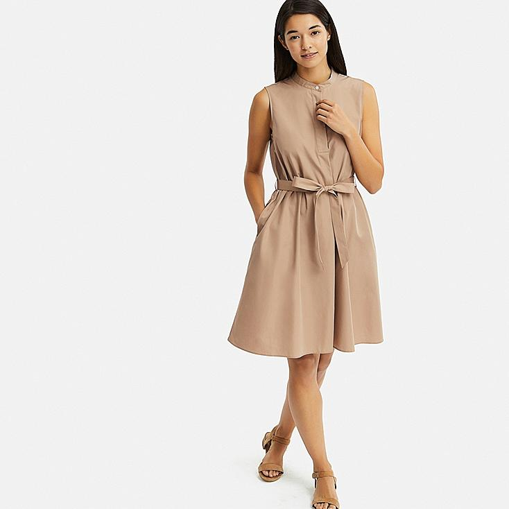 WOMEN EXTRA FINE COTTON A-LINE SLEEVELESS DRESS, BEIGE, large