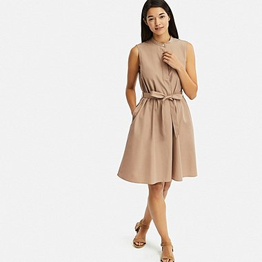 WOMEN EXTRA FINE COTTON A-LINE SLEEVELESS DRESS, BEIGE, medium