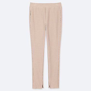 WOMEN RIBBED LEGGINGS PANTS, BEIGE, medium