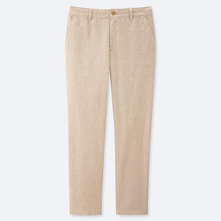 """WOMEN LINEN COTTON TAPERED PANTS (TALL 30"""") (ONLINE EXCLUSIVE), BEIGE, large"""