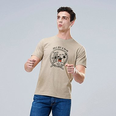 MICKEY ART UT NUTS ART WORKS (SHORT-SLEEVE GRAPHIC T-SHIRT), BEIGE, medium