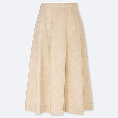 WOMEN LINEN COTTON TUCKED FLARE SKIRT, BEIGE, medium
