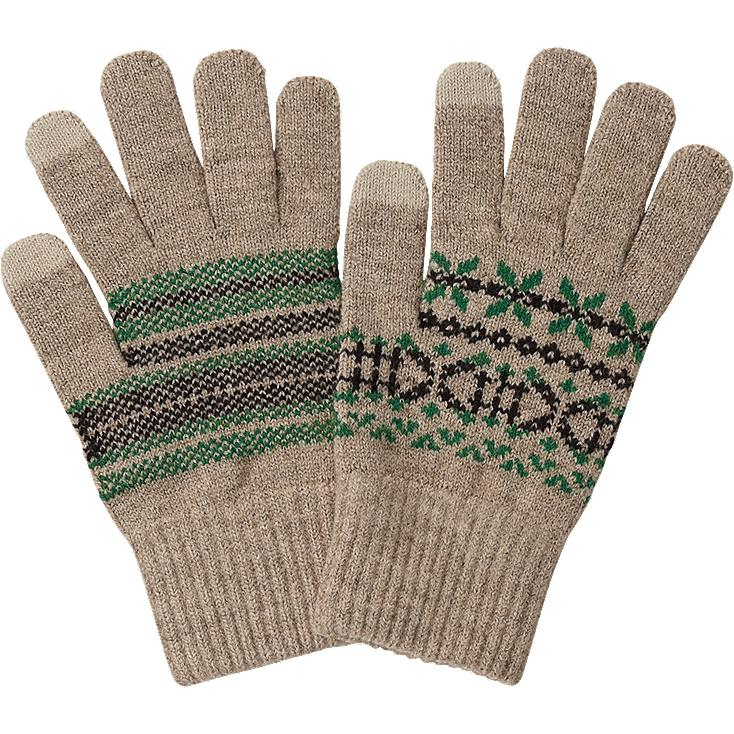 MEN HEATTECH KNITTED GLOVES, BEIGE, large