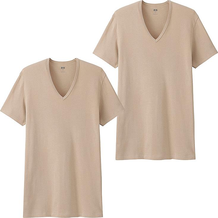 Men Supima® Cotton T-Shirts, 2 Pack, BEIGE, large