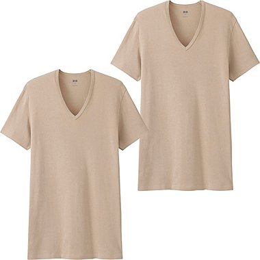 Mens Supima® Cotton T-Shirts, 2 Pack, BEIGE, medium