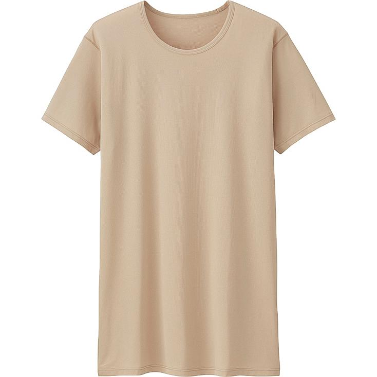 Men's AIRism Mesh Crew Neck T-Shirt, BEIGE, large