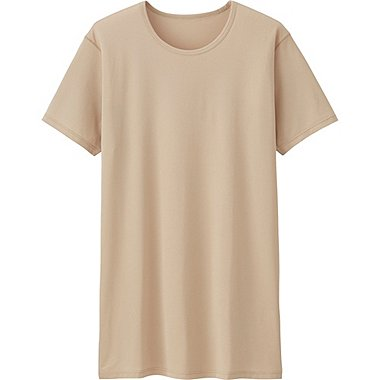 Mens AIRism Mesh Crew Neck T-Shirt, BEIGE, medium