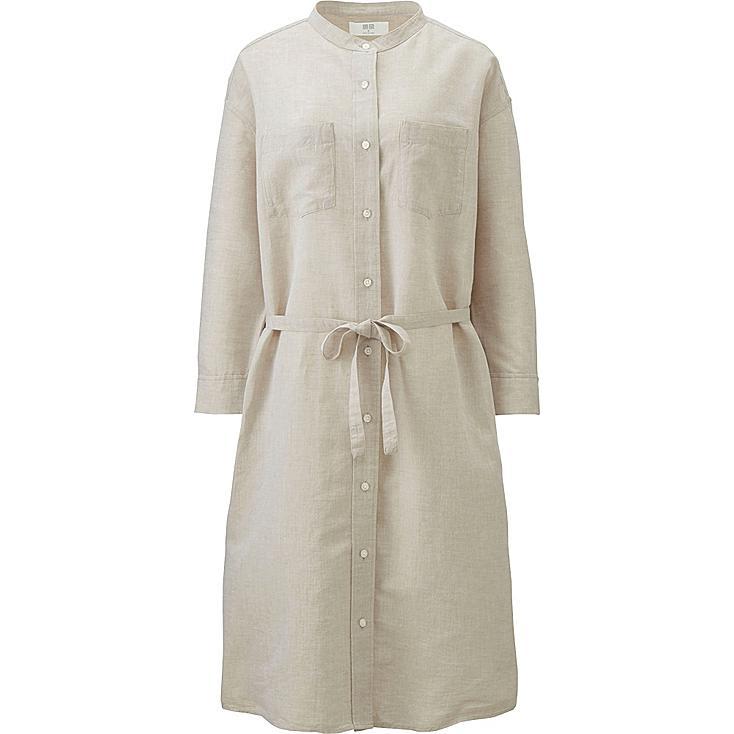 robe lin coton manches 3 4 femme uniqlo. Black Bedroom Furniture Sets. Home Design Ideas