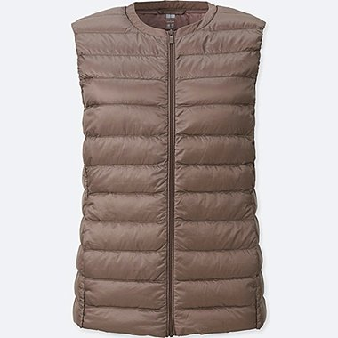 WOMEN ULTRA LIGHT DOWN COMPACT VEST, BEIGE, medium