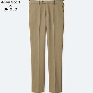 MEN STRETCH SLIM-FIT FLAT FRONT PANTS, BEIGE, medium