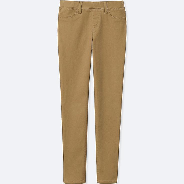 GIRLS Elastic Waist Knit Pants, BEIGE, large