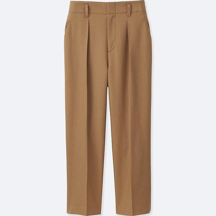 WOMEN WOOL BLEND WIDE LEG TAPERED ANKLE PANTS, BEIGE, large