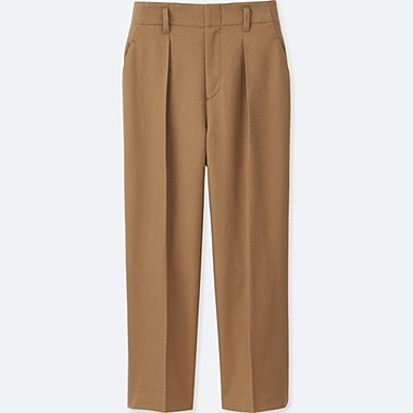 WOMEN WOOL BLEND WIDE LEG TAPERED ANKLE PANTS, BEIGE, medium