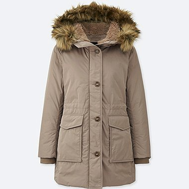 WOMEN WARM TECH DOWN MILITARY COAT, BEIGE, medium