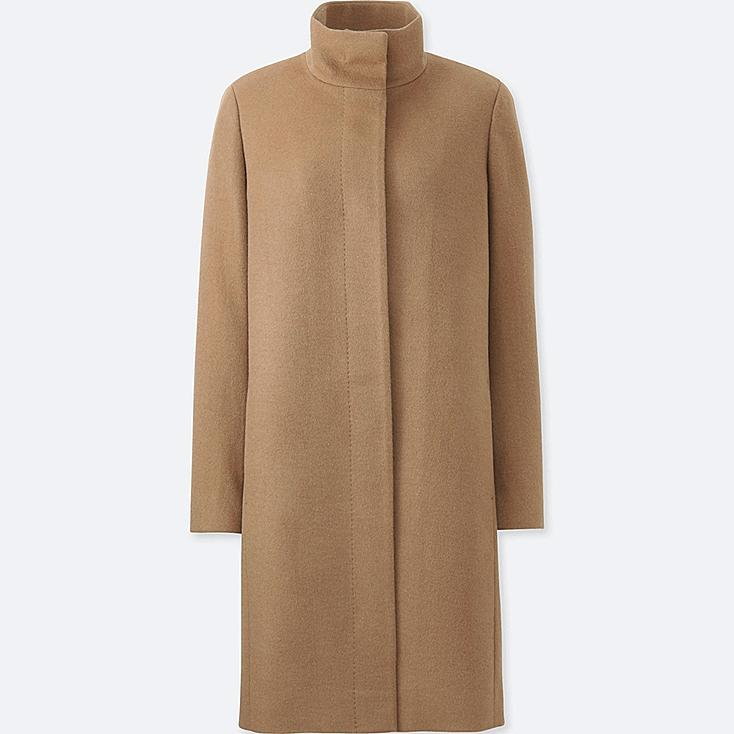WOMEN CASHMERE BLENDED STAND COLLAR COAT, BEIGE, large