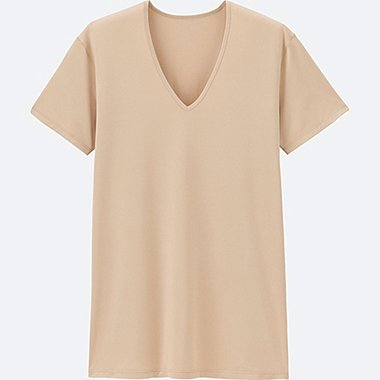 MEN AIRism V-NECK T-SHIRT SHORT SLEEVE, BEIGE, medium