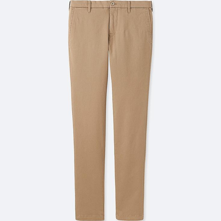 MEN ULTRA STRETCH CHINO FLAT FRONT PANTS, BEIGE, large
